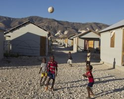 The United Nations and various Non Government Organizations teamed up to build 5100 houses to replace the tents that more than 15,000 people were living in just outside of Port au Prince, Haiti.  Photo Logan Abassi UN/MINUSTAH